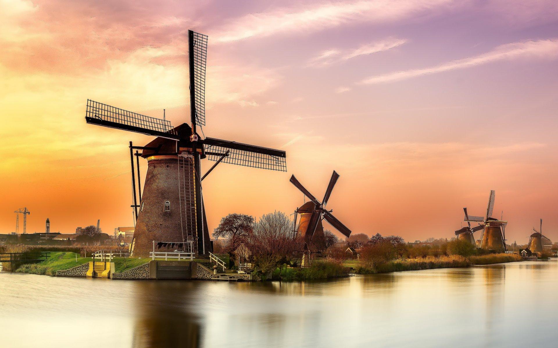 sunset_river_Holland_windmill_landscape_reflection_1920x1200